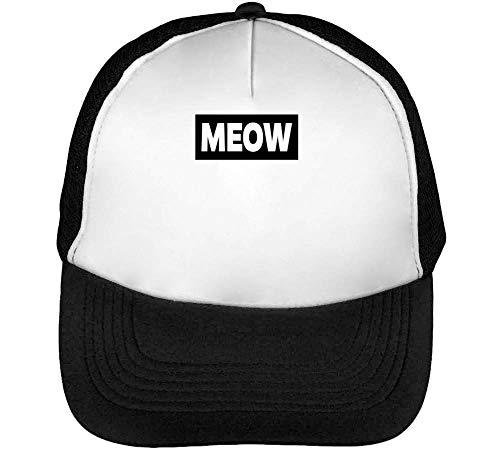 Negro Hombre Blanco Funny Snapback Beisbol Gorras Meow EXSdqwCnq