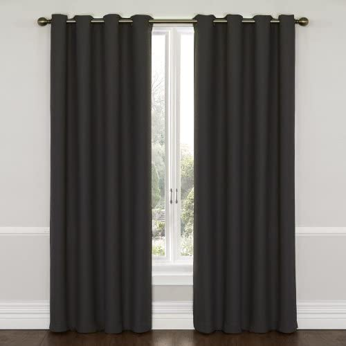 Eclipse Wyndham Thermal Insulated Single Panel Grommet Top Darkening Curtains for Living Room, 52 x 95 , Charcoal