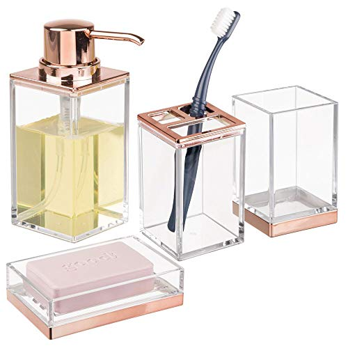(mDesign Square Plastic Bathroom Vanity Countertop Accessory Set - Includes Soap Dispenser Pump, Divided Toothbrush Holder, Tumbler Rinsing Cup, Soap Dish - 4 Pieces - Clear/Rose Gold)