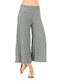 Women's Elastic Waist Jersey Culottes Pants
