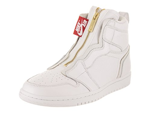 Jordan Nike Women's Air 1 High Zip White/White University Red Basketball Shoe 9.5 Women US by Jordan