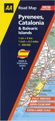 Pyrenees Catalonia and Balearic Islands AA Road Map Spain