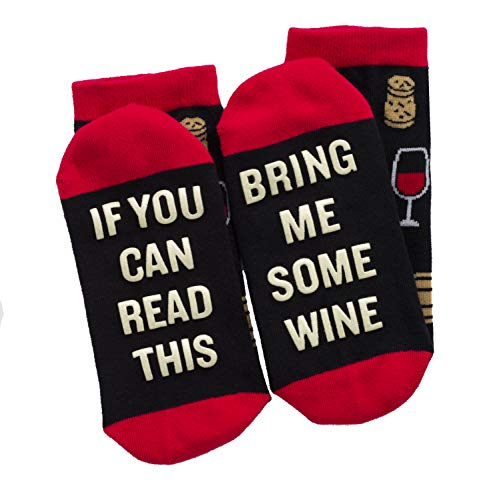 (If You Can Read This Bring Me Some Wine - Funny Socks - Novelty Gift for Men & Women)