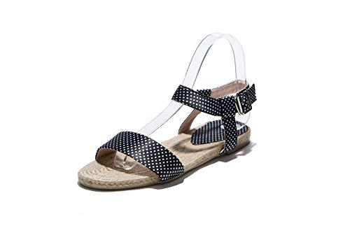 AllhqFashion Womens Fabric Assorted Color Buckle Open Toe No Heel Sandals Black zWlxl