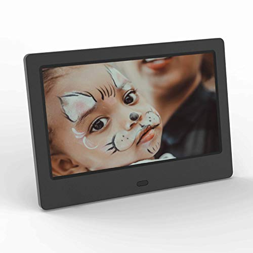 Digital Picture Frame 7 Inch Photo Slideshow LCD Widescreen - Winnovo D7 USB SD Card Slots Music Video Calendar Support Remote Control Auto Power On and Off - Black
