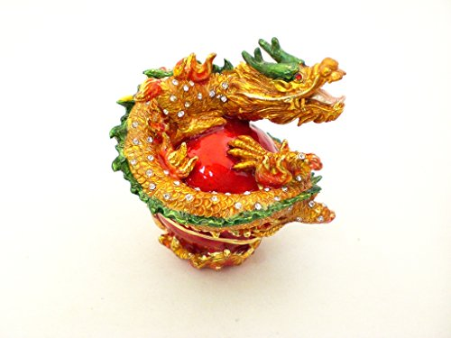 Ciel Collectables Curled Chinese Dragon Jeweled Swarovski Crystal Trinket Box L 3.00 X H 3.00 X W 2.75
