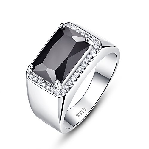 BONLAVIE Men's 925 Sterling Silver 6.8ct Emerald Cut Black Spinel CZ Daily Ring Band Size 10 Emerald Spinel Ring