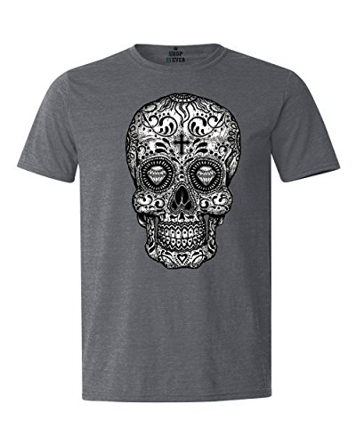Shop4Ever Sugar Skull Black & White T-Shirt Day of The Dead Shirts Large Dark -