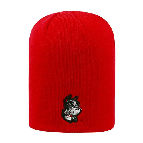 Boston University Terriers Red Cuffless 2-Sided Beanie Hat - NCAA Knit Skull Cap (Terrier Embroidered Cap)