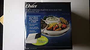 Oster Divided Serving Platter with Center Warming Pot, White