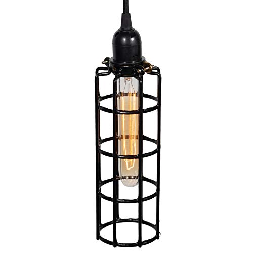 Rustic State Long Cylinder Metal Wire Light Cage Guard for Pendant Lamps DIY Lighting Fixtures Black