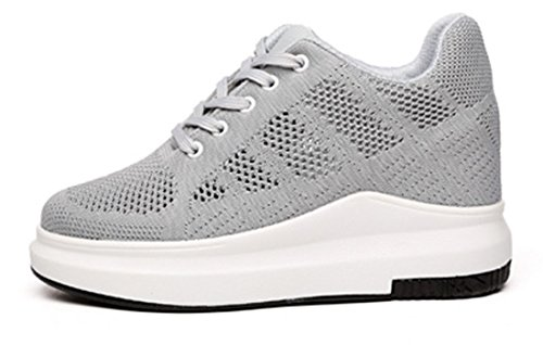 VECJUNIA Ladies Summer Breathable Mesh Wedge Heel Trainers Lace Up Outdoor Shoes Grey DtQpV