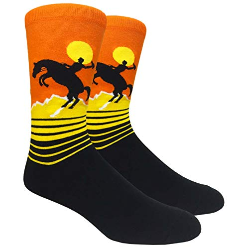 Themed Patterned Men's Novelty Socks 1 Pair in Small Gift Box (Rodeo)]()