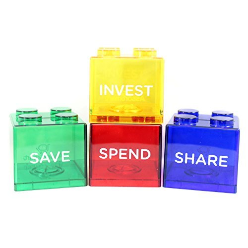 Colorful Stacking Block Coin Bank For Kids – Helps Kids Save, Share, Give and Invest – Transparent Plastic Bank Shows Cash Inside – Teaches Good Money Habits – Perfect As Kids Birthday Presents