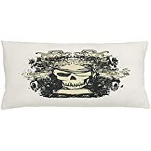 Lunarable Pirate Throw Pillow Cushion Cover, Skull of Pirate Retro Grunge Style Skeleton Doodle Deadly Scary Character, Decorative Square Accent Pillow Case, 36 X 16 Inches, Cream Black Beige
