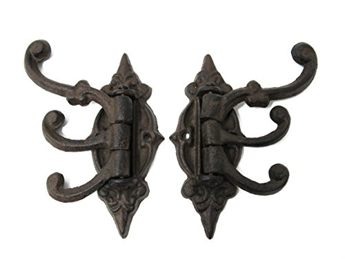 Set of 3 Victorian Swivel Arm Antique Cast Iron Wall Hooks w/Screws, Shabby Chic Vintage Wall Mounted Hooks, Excellent for Coats, Bags, Hats, Towels, Curtain Rod's, Scarf's by Ashes to Beauty