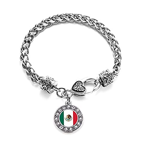 Inspired Silver Mexican Flag Circle Charm Braided Bracelet Silver Plated with Crystal Rhinestones