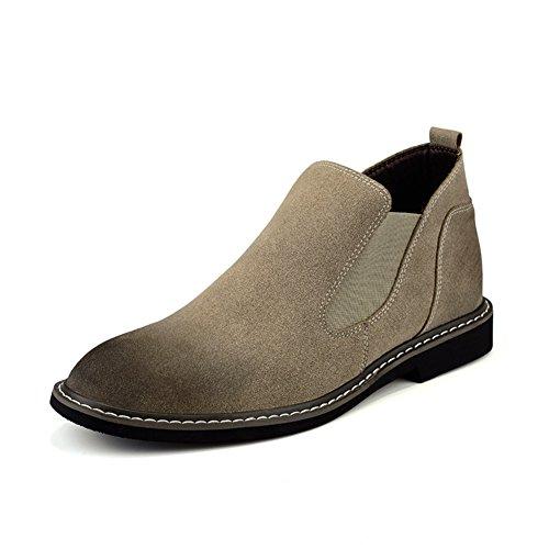 Zapatos casuales de cuero de los hombres vestido otoño botas la boda moda] resbalón encendido negro-marrón-marrón Longitud del pie=42EU
