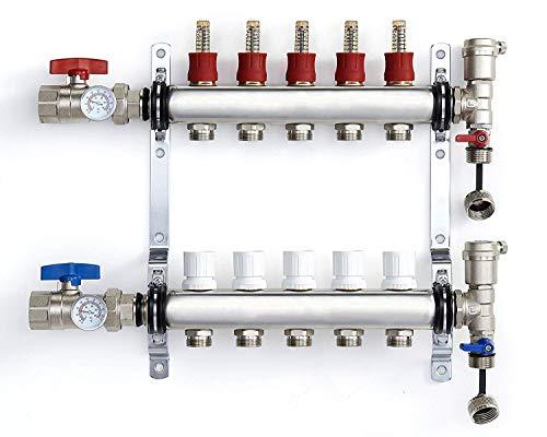 PEX Manifold Radiant Floor Heating Set 5 Loop System Stainless Steel Heated Hydronic Heating 1/2