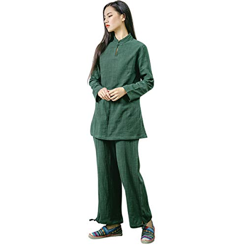 KSUA Womens Chinese Kung Fu Clothing Tai Chi Suit Cotton Yoga Suit for Zen Meditation Martial Arts, Dark Green US XS/Tag S