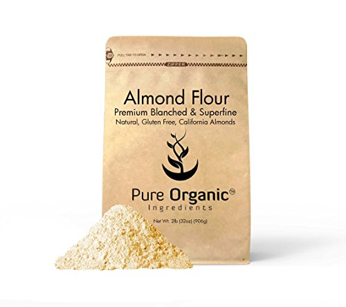 Almond Flour by Pure Organic Ingredients Paleo and Keto Friendly, Gluten Free, Vegan, Product of California, Blanched and Superfine. (2 lb)