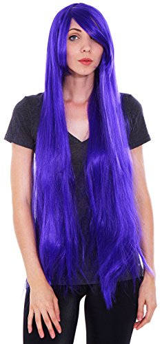 [Women's Long Straight Full Hair Wig for Cosplay / Halloween Costume, Purple] (Fake Breasts For Halloween Costume)