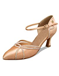 Minitoo TH002 Women's Crystals Satin Latin Salsa Ballroom Dance Shoes