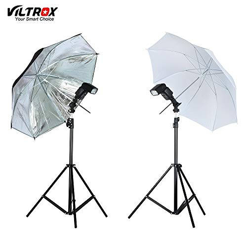 Photo Studio Accessories - Photo Studio Lighting Kit-2M Light Stand Tripod+Metal Flash Bracket Holder +33'' White/Black Silver Reflective Umbrella - by StrongLife - 1 PCs
