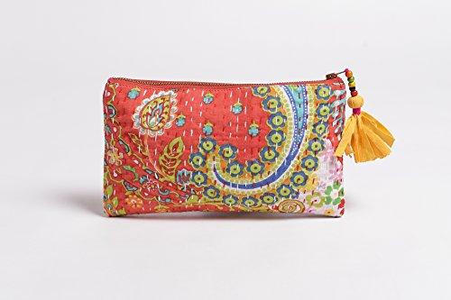 Naranja, cremallera monedero, maquillaje o cosméticos bolsa, bolsa de utilidad, Kantha Funda de, 5x 9cm