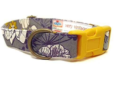 bohemian-rhapsody-smokey-gray-purple-yellow-vintage-floral-organic-cotton-pet-collar-handmade-in-the