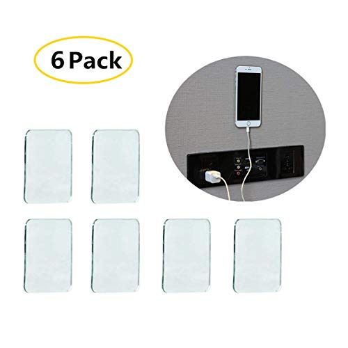 Universal Non-Slip Mats Fixate Sticky Anti-Slip Gel Pads Rectangle Clear, Multi Usage Stick to Glass, Mirrors, Whiteboards, Metal, Kitchen Cabinets, Tile (Set of 6) ()