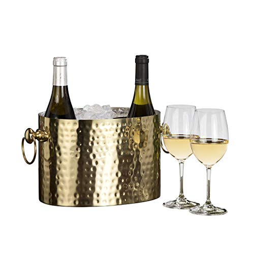 Chic Chill Handcrafted Artisan 2 bottle Champagne Wine Chiller (Brass) -