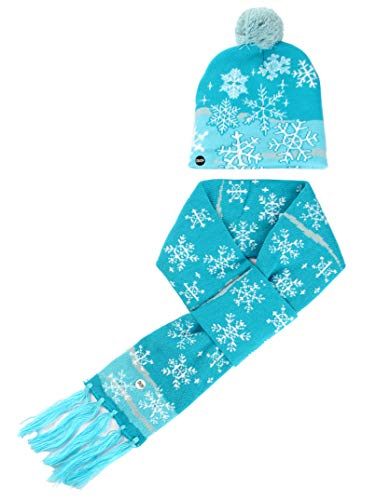 LED Light up Christmas Knit Scarves Beanie Hat Set Coloured Lighting Special Occasion Events Festive Scarves (Snowflakes)