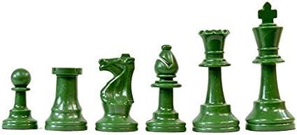 Chessmen Extra Queen – Green NEW Staunton Triple Weighted Half Set 17 Pieces