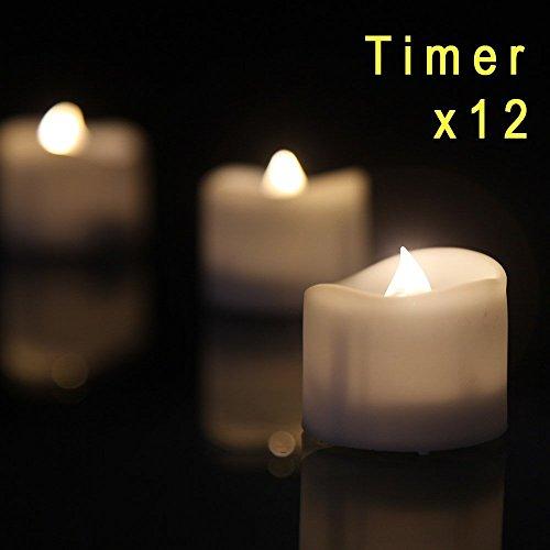 LED Kerzen Outdoor, eLander™ LED Tea Lights flammenlose Kerzen mit Timer, 6 Stunden auf und 18 Stunden Off, 1,4 x 1,6-Zoll., 12 Stück, weiß