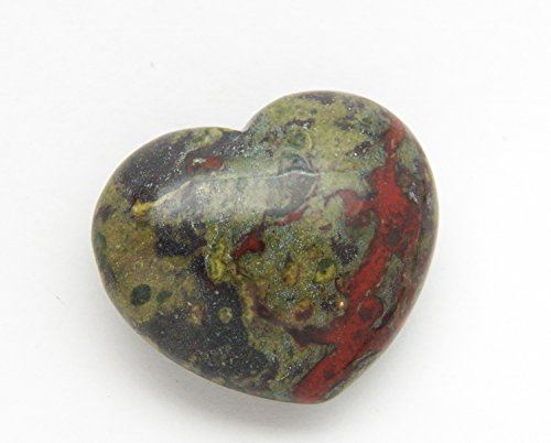 Fundamental Rockhound Products: 38mm Dragon's Blood Bloodstone Pocket Heart Gemstone Crystal with Carrying Pouch, info Card, Stone Certification, Tumbled ()