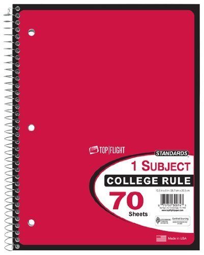 Top Flight Standards 1-Subject Wirebound Notebook, 70 Sheets, College Rule, 10.5 x 8 Inches, 1 Notebook, Red Cover (30074) by Top Flight