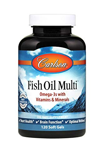 Carlson - Fish Oil Multi, Omega-3s with Vitamins & Minerals, Heart Health, Brain Function & Optimal Wellness, 120 soft gels