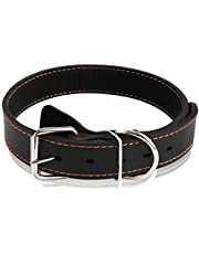 Genuine Leather Dog Collars Best for Medium Large Breed Dogs (L, Black)