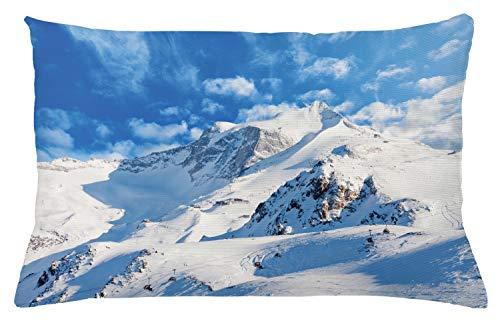 "Ambesonne Mountain Throw Pillow Cushion Cover, Mountain Landscape Ski Slope Winter Seasonal Sport Telfer and Snowboarding Image, Decorative Rectangle Accent Pillow Case, 26"" X 16"", White Seafoam"