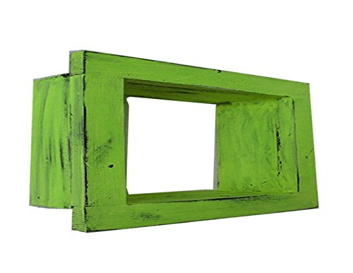 Wood / Wooden Shadow Box Display - 9'' x 6'' - Lime Green - Decorative Reclaimed Distressed Vintage Appeal by IGC