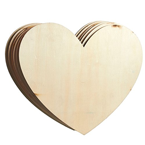 Unfinished Wood Cutout - 6-Pack Heart-Shaped Wood Pieces for Wooden Craft DIY Projects, Signs, Wedding Decoration, 11.56 x 9.8 x 0.188 inches (Sign Heart Wooden)