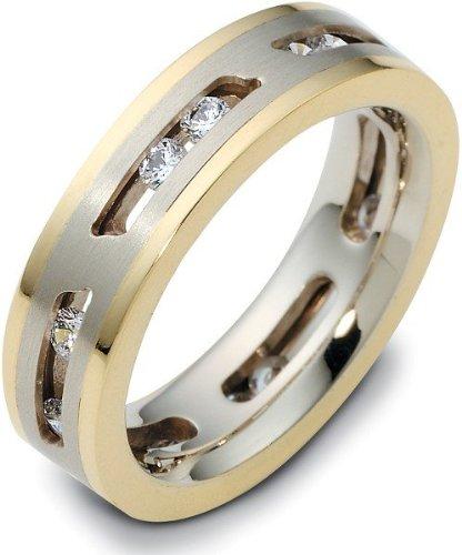 (Designer 18 Karat Two-Tone Gold Unique MOVING Diamond Wedding Band Ring -)