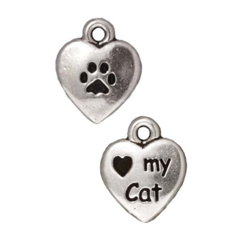 (TierraCast Fine Silver Plated Pewter Heart My Cat 2-Sided Charm 12mm (1))