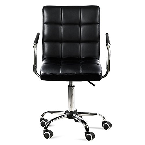 x Leather Home Office Chair Swivel Computer Desk Chair on Wheels Black (Black Faux Leather Desk)