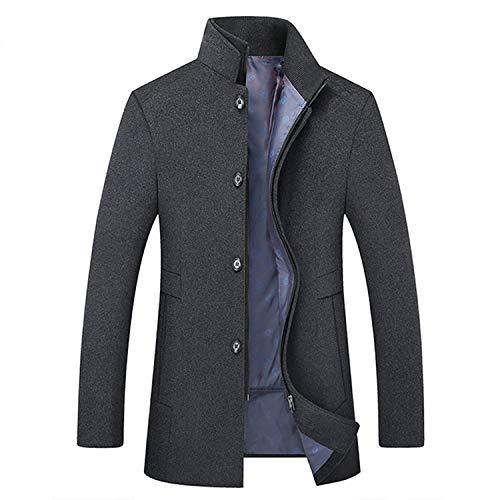(Winter Wool Coat Men Leisure Long Sections Woolen Coats Men's Pure Color Casual Jackets,Grey,6XL)