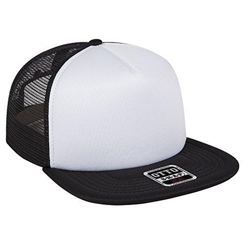 Otto Caps OTTO Foam Front Flat Visor OTTO SNAP 5 Panel Mesh Back Trucker Snapback Hat - (Foam Mesh Hats)