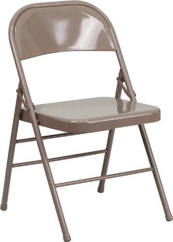 Ordinaire Flash Furniture HERCULES Series Triple Braced U0026 Double Hinged Beige Metal  Folding Chair