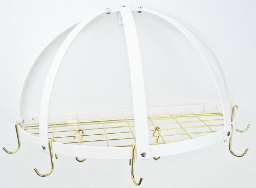 Half Dome Pot Rack w Grid in Black w Chrome Hooks (White/Brass) ()