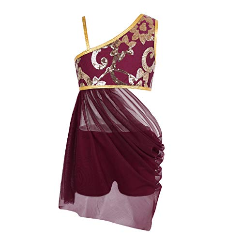 CHICTRY Big Girls Youth Lyrical Costume Asymmetrical